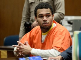 Chris Brown appears in court for a hearing at the Criminal Courts in Los Angeles